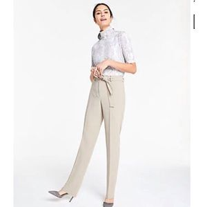 Ann Taylor Belted Straight Leg Pants Trous…